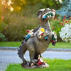 Garden Gnomes, Dinosaur Eating Gnomes Garden Decor for Outside, Gnome Garden Statues Decorations for Fall Winter, Outdoor Garden Art for Patio, Lawn, Yard, Housewarming Garden Gift