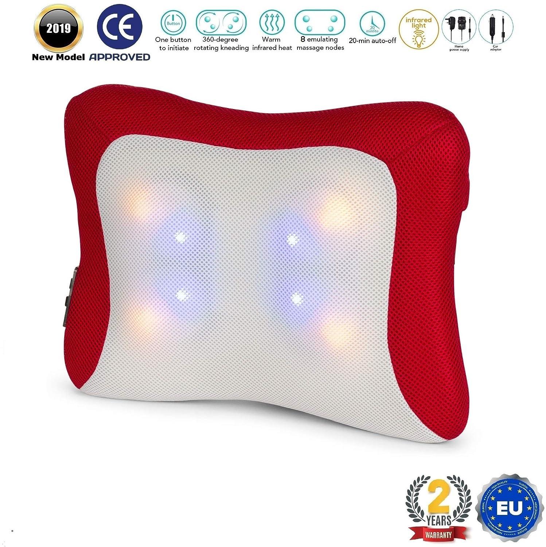 NAVIDAD -10€ l TENZO® Cojín masajeador de cuello y espalda (modelo 2019) - Almohada masajeadora electrica de fisioterapia para casa, trabajo o coche - ...
