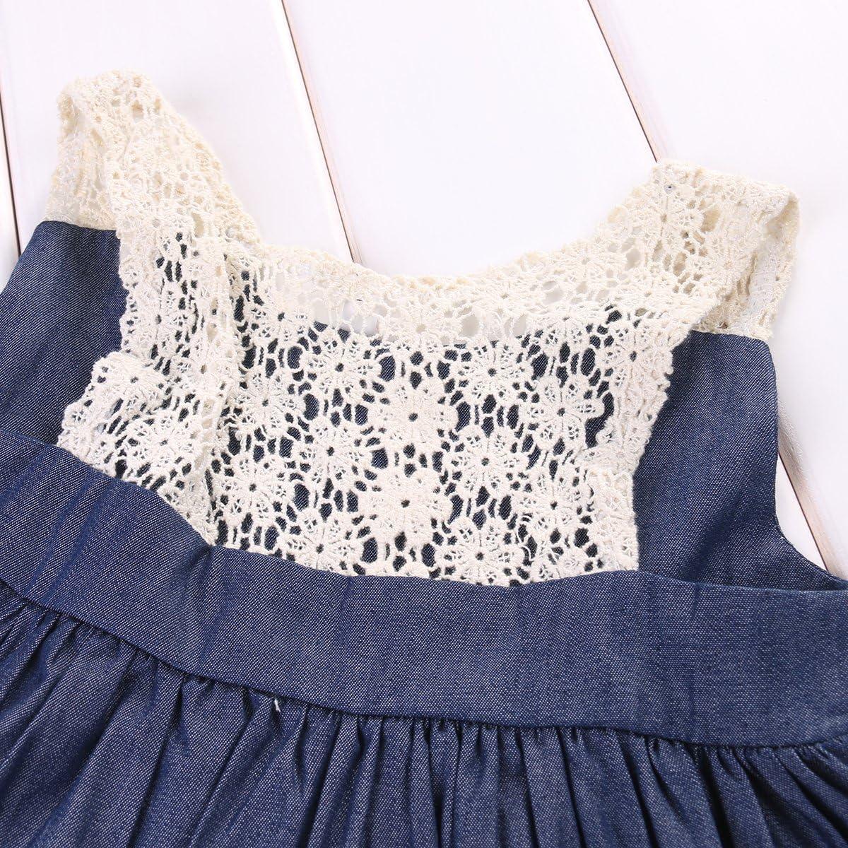 Toddler Kids Baby Girls Sleeveless Lace Collar Denim Ruffle Dress Short Pants Outfits 2Pcs Clothes Set
