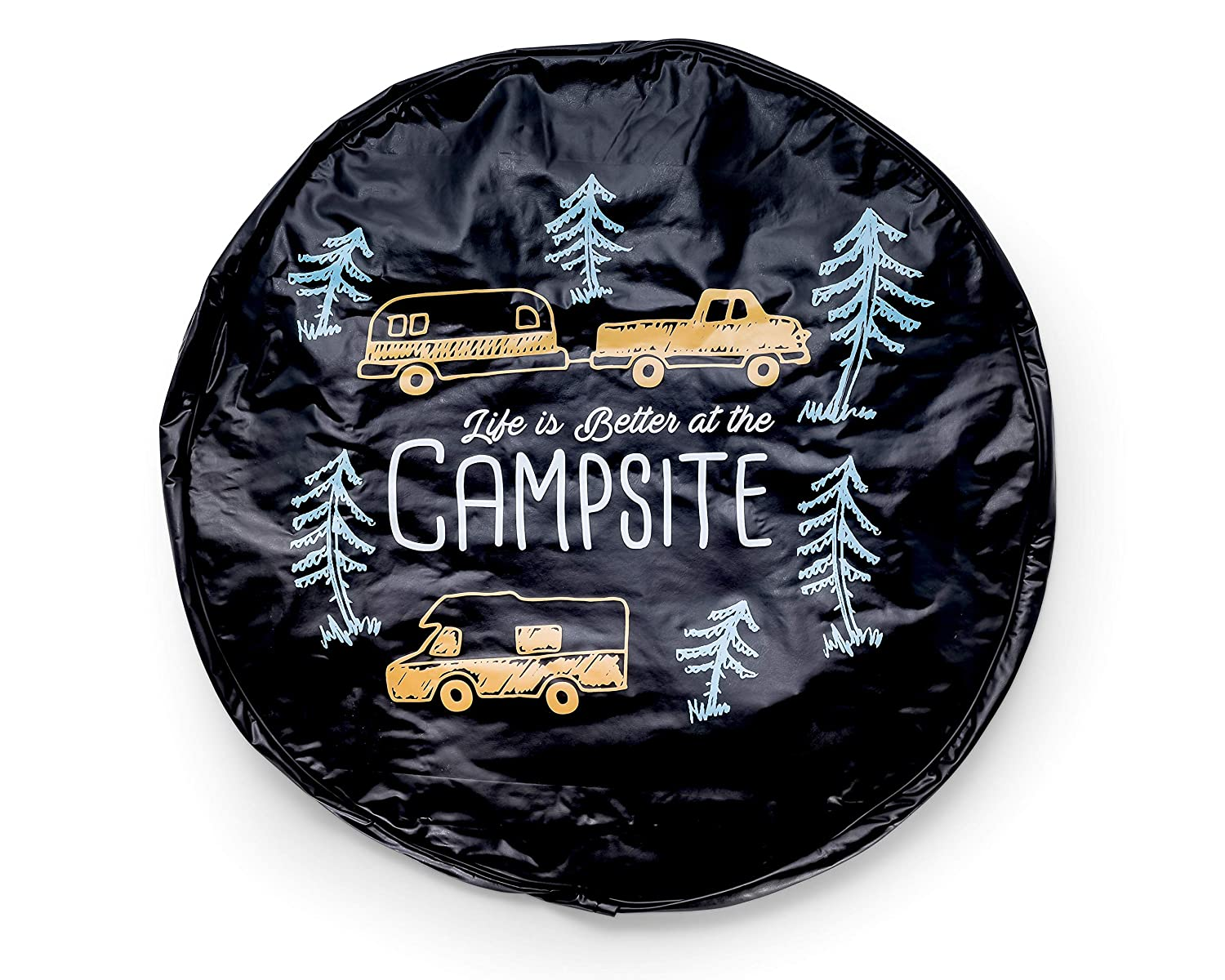 and Sun Away from Your Spare Tire Rain Camco Life is Better at Campsite 27 Vinyl Cover with Elastic Hem-Durable Design Keeps Dirt 53292