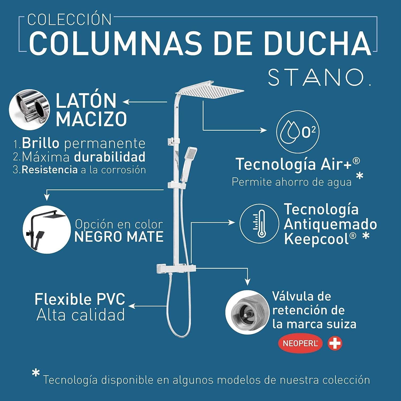 Columna de ducha negro mate termostática STILO, con tecnología ...