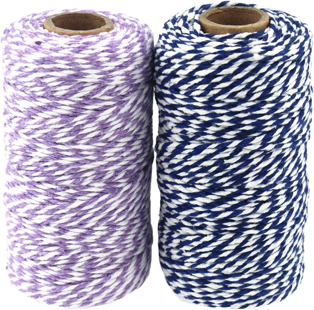656 Pies de Algod/ón Bakers Twine Spool 10 Capas Artesan/ías Guita de Cuerda Para Manualidades de Bricolaje y Envoltura de Regalos Azul y Morado
