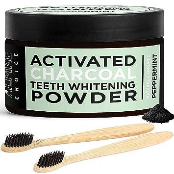 Alpine Choice Carbón de leña activado dientes blanquear polvo + 2 cepillos de dientes de bambú | Coco natural y orgánica - calidad alimentaria: Amazon.es: ...