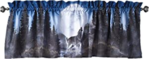 The Lakeside Collection Wolf Pack Window Valance with Howling Wolves, Moon for Nature Lovers