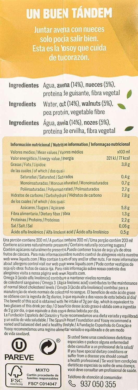 Yosoy - Bebida de Avena con Nueces, 6 x 1L: Amazon.es: Alimentación y bebidas