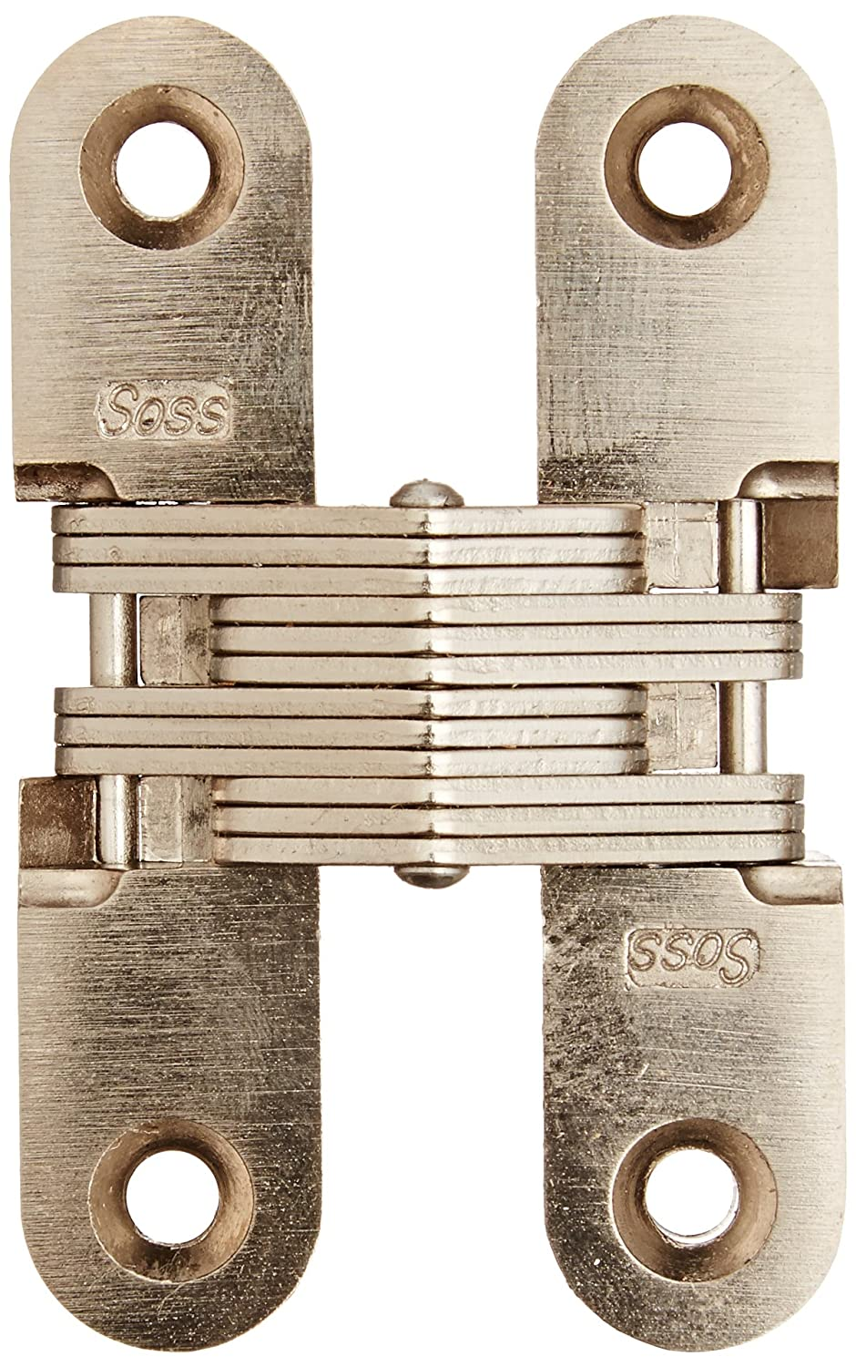 Satin Nickel Exterior Finish Mortise Mounting SOSS 208 Zinc Invisible Hinge with Holes for Wood or Metal Applications