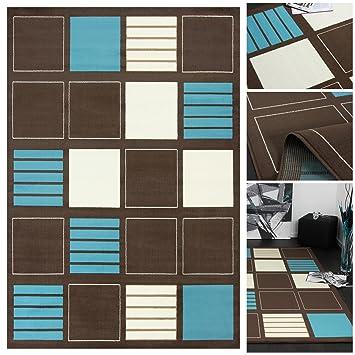 Moderner Designer Teppich Mit Gestreiftem Karo Muster In Braun Türkis Creme  | Teppich Läufer Elegant