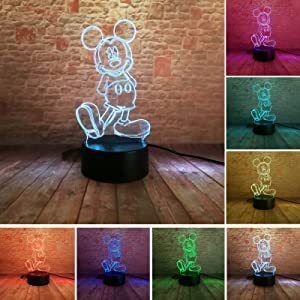 Hot Glowing Cartoon 3D Girls Mickey Boys Mice Mouse LED Gradient Night Light USB Touch LED Mood Bedroom Decor Lamp Child Baby Xmas Toy Gifts (Mickey)
