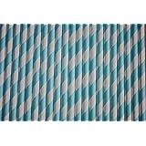 Pailles Papier à Rayures Pastel Bleu x 100