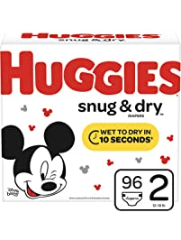 Huggies Snug & Dry Baby Diapers, Size 2 (fits 12-18 lb.), 96 Count, Big Pack (Packaging May Vary)