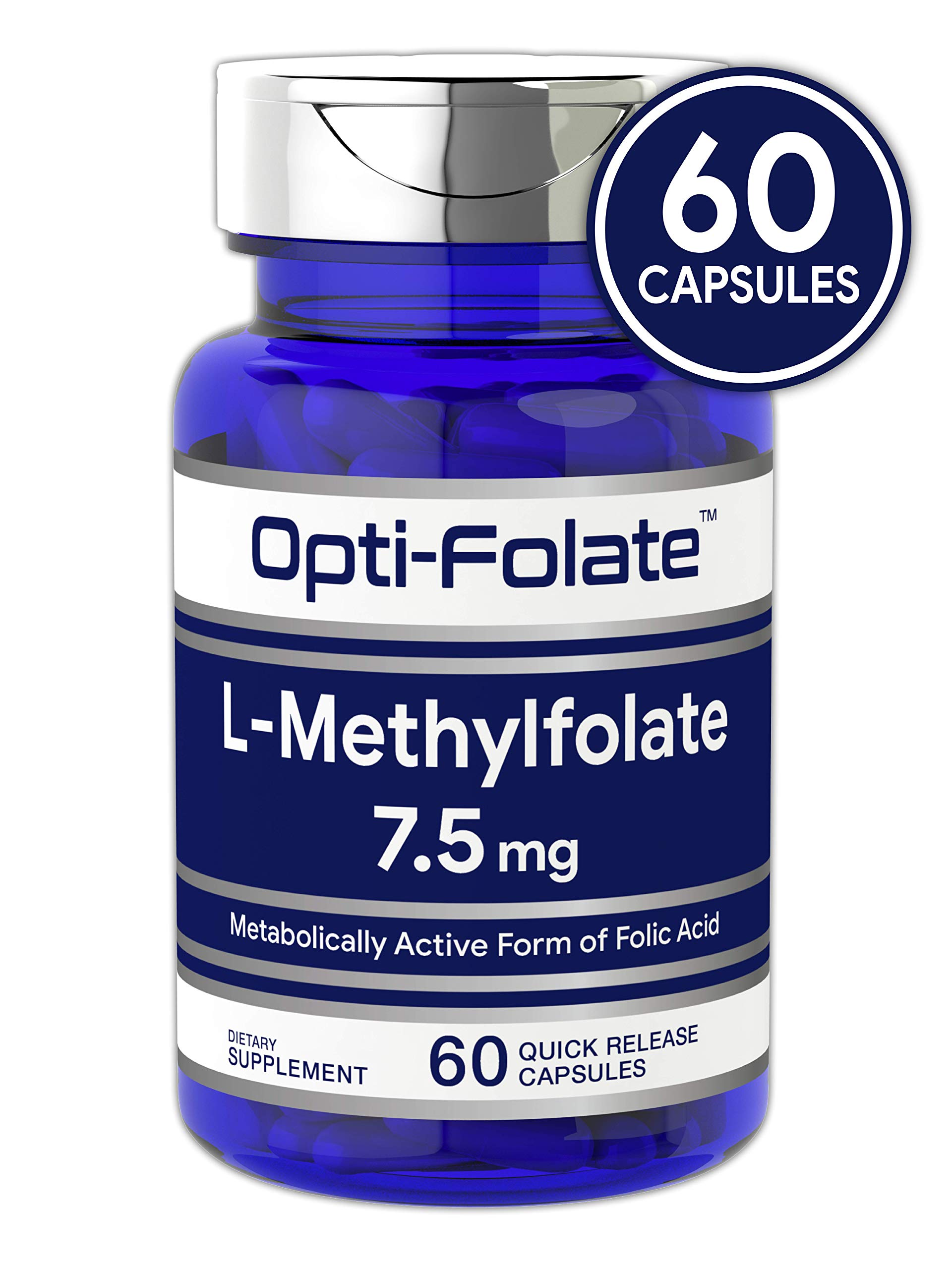 L Methylfolate 7.5 mg | 60 Capsules | Optimized and Activated | Non-GMO, Gluten Free | Methyl Folate, 5-MTHF | by Opti-Folate by Carlyle