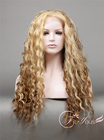 Amazon Com Long Dark Blonde And Brown Ombre Wavy Wig Long Curly