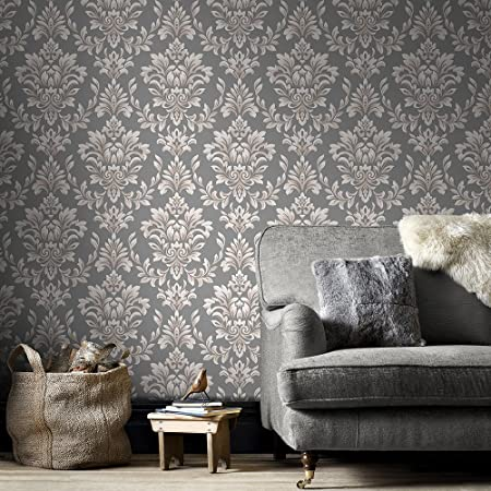 Designer Laurence Llewelyn Bowen Johor Damask Subtle Glitter Grey Wallpaper