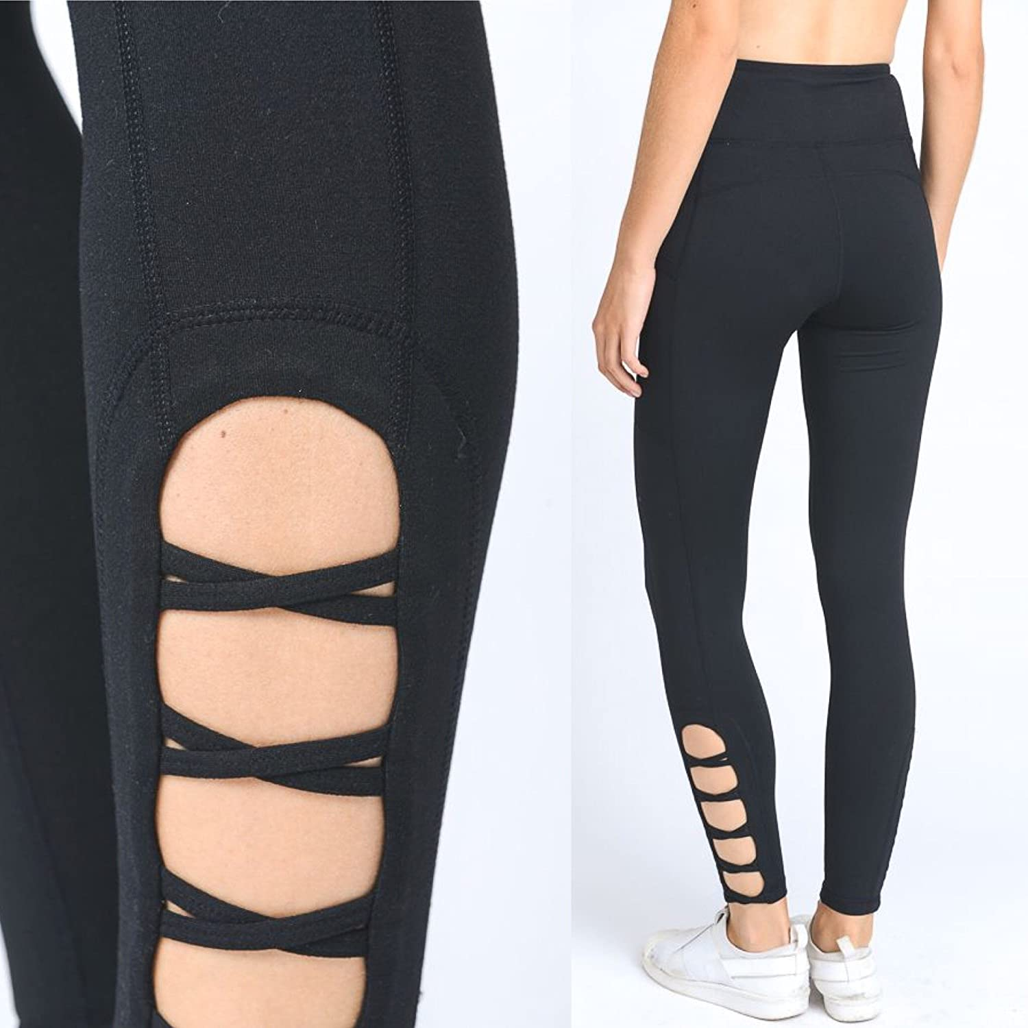 High Waist Crisscross Yoga Pants Pockets NOT See Through ...
