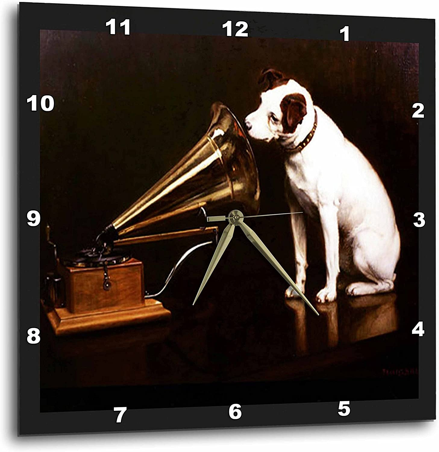 3dRose dpp_39018_2 Vintage Rca Dog and Victrola-Wall Clock, 13 by 13-Inch