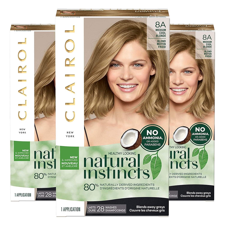Clairol Natural Instincts Semi-Permanent, 8A Medium Cool Blonde, Linen, 3 Count