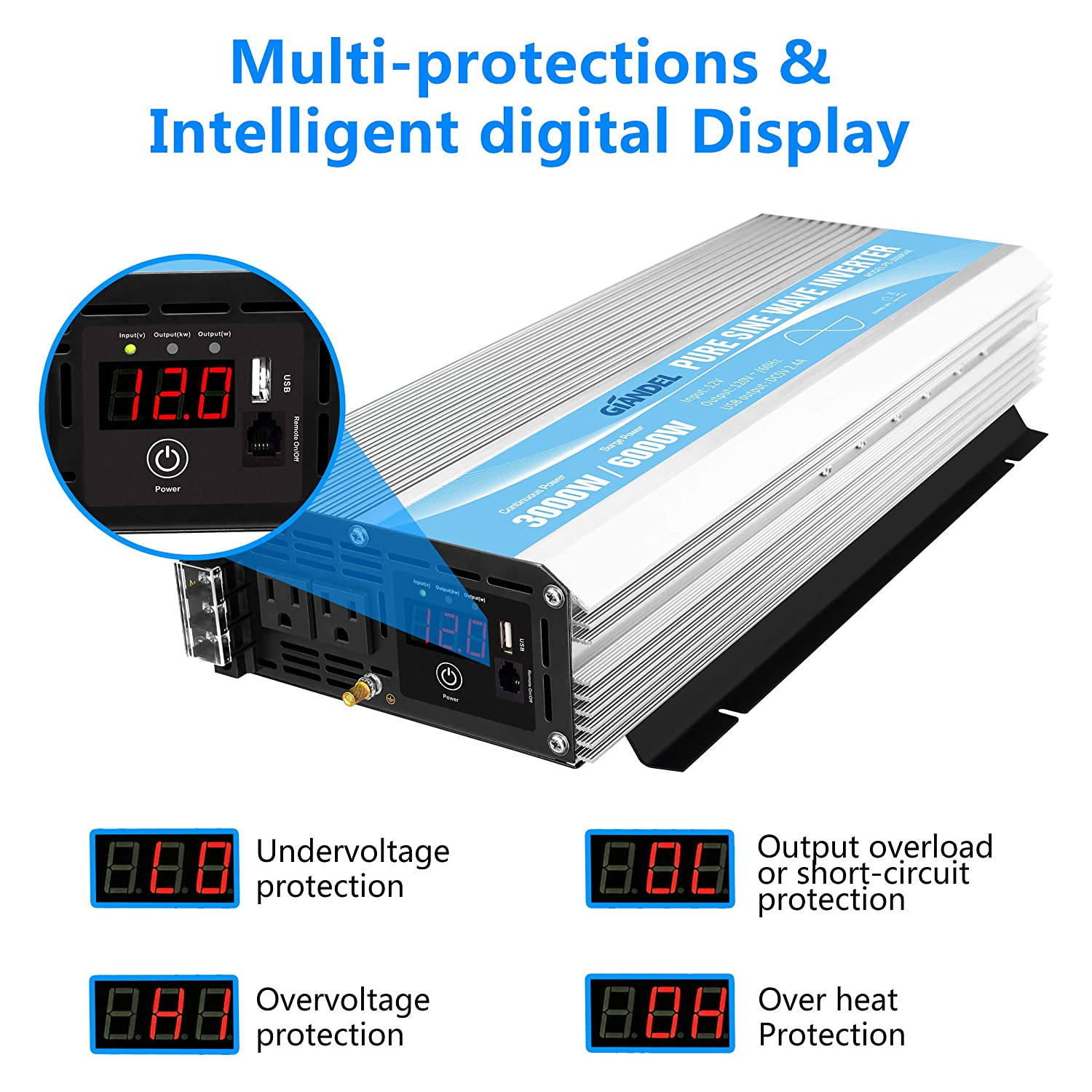 Pure Sine Wave Power Inverter 3000Watt DC 12V to AC120V with Dual AC Outlets with Remote Control and LED Display