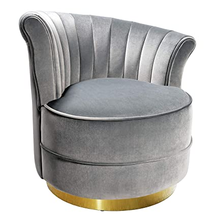 Swivel Accent Chairs, Uphostered Club Chair for Bedroom Living Room Velvet  Silvery Grey