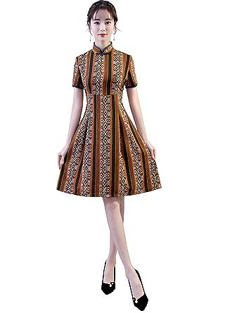 42a1bd2b4c2d4 Shanghai Story Knee Length Qipao Women's Chinese Style Dress Cheongsam ...