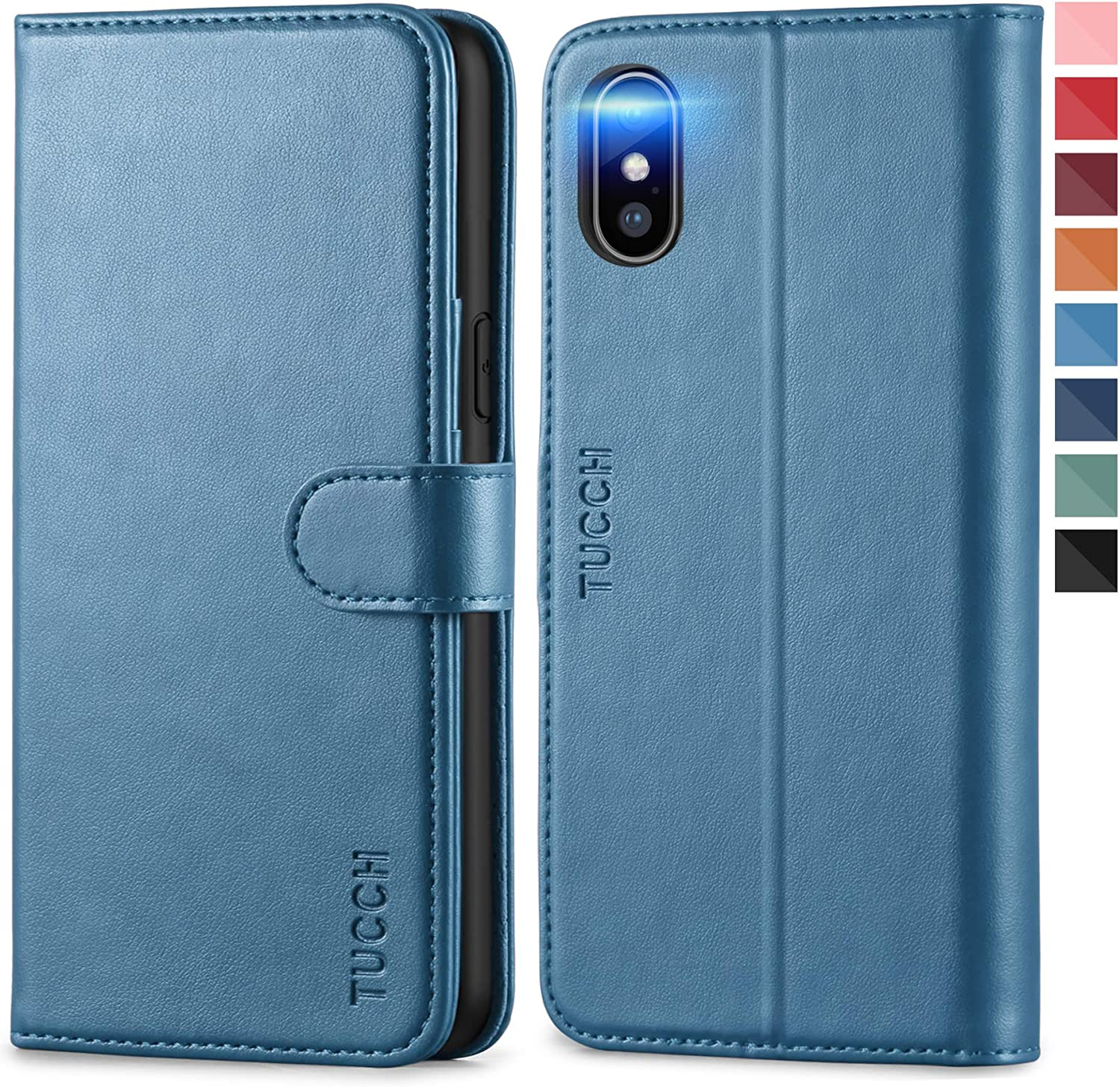 TUCCH iPhone Xs Wallet Case, PU Leather [Auto Wake/Sleep] [TPU Shockproof Interior Case] Folio Cover, Stand [Wireless Charging] RFID Credit Card Holder Compatible iPhone with Xs, Lake Blue