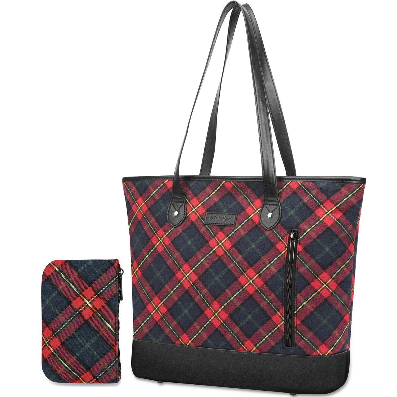 UtoteBag Women 15.6 Inch Laptop Tote Bag Notebook Shoulder Bag Lightweight Multi-Pocket Nylon Business Work Office Briefcase for Computer/MacBook / Ultrabook, Black