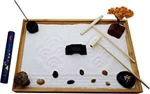 Zenfy Zen Garden Kit - Desktop Mini Japanese Sand Garden Kit with Bamboo Tray, 50 Incense Candles, Rake Tools - Relaxation Miniature Rock Garden and Accessories for Desk Top, Office and Home Decor