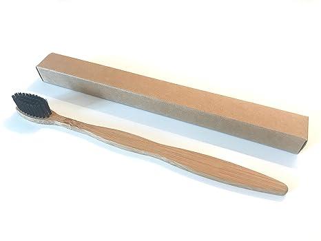 Carbón vegetal con bambú natural cepillo de dientes (1) | Biodegradable mango cepillo de