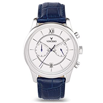 f236ef740eb0 Vincero Luxury Men s Bellwether Wrist Watch — White dial with Blue Leather  Watch Band — 43mm