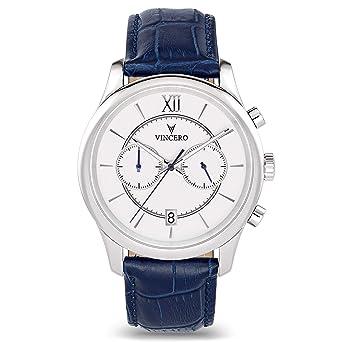 d139f155b12 Montre-bracelet de luxe Vincero pour homme - Cadran blanc avec bracelet en  cuir bleu