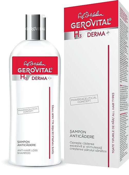 Champú anticaída Gerovital H3 Derma+ hipoalergénico, sin jabón, colorantes o SLS