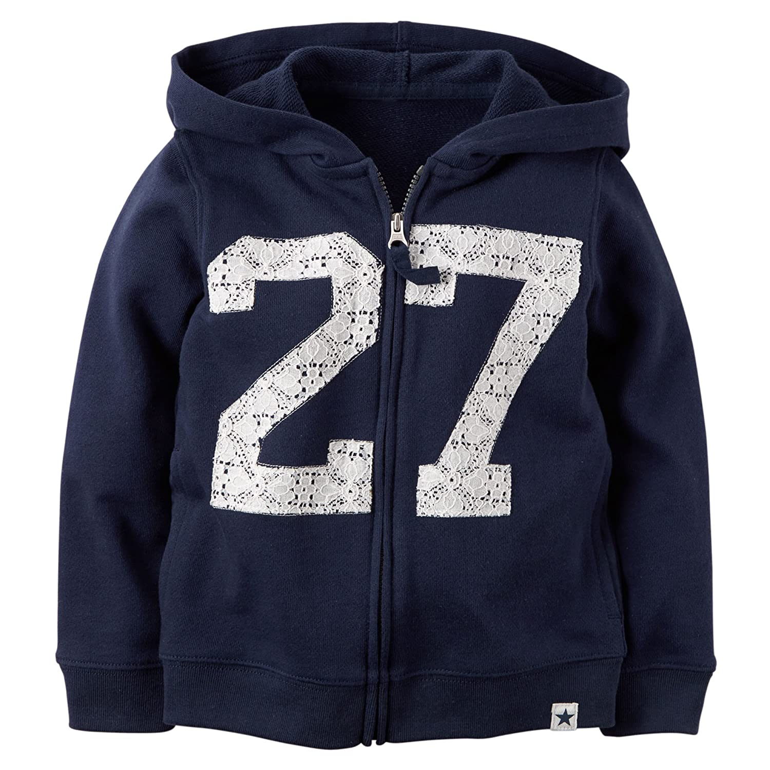 Carters Girls Navy Lace Detail French Terry Hoodie