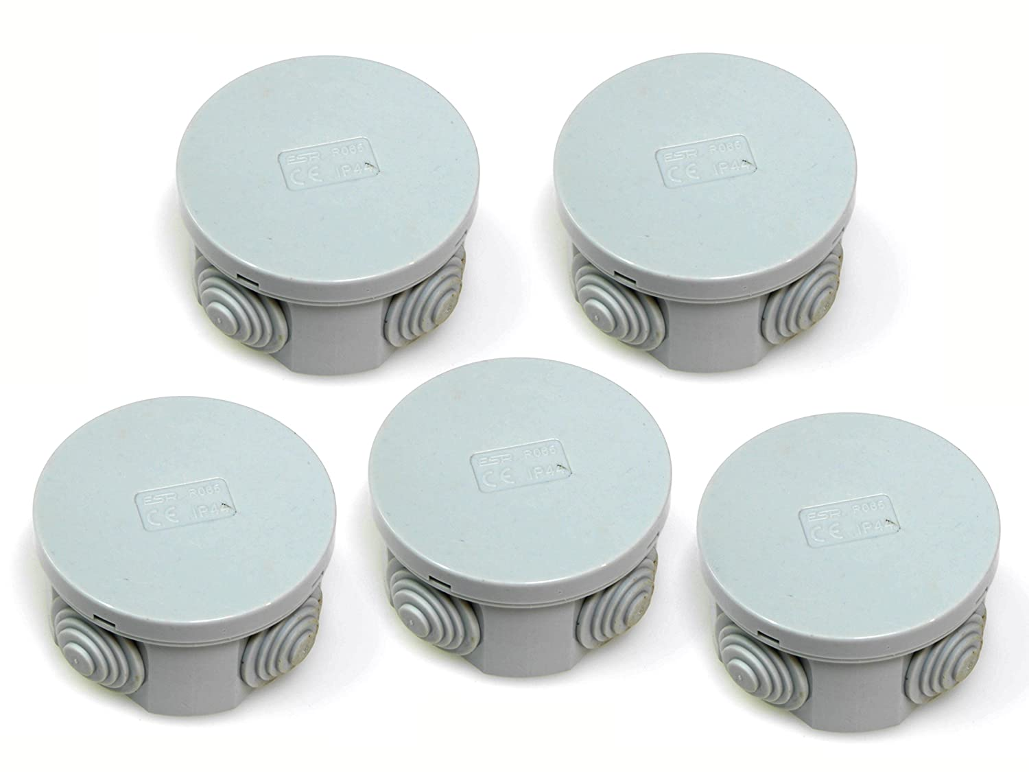 5x IP44 junction box with rubber grommets and snap on lid 65 x 35mm round lighting terminal cable connection adaptable enclosure case ESR