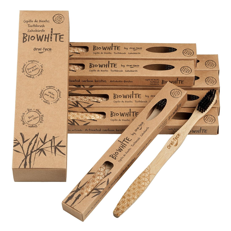 4 Bio White Cepillos Dentales Blanquadores de Bambu puro, Biodegradable. Recomendados por Dentistas de todo el mundo. Cerdas Negras de Carbon de Bambu con ...
