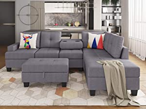GAOPAN Storage Ottoman, L-Shaped Corner 5 Seater Tufted Reversible Sectional Chaise Lounge Couch Sofa with 2 Cup Holders for Living Room & Small Space, Gray 1