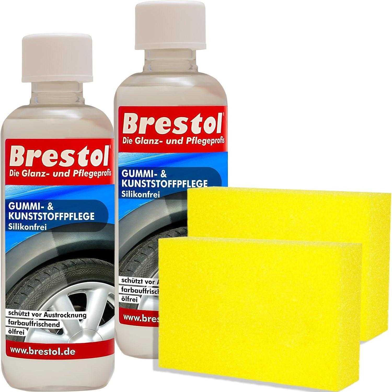 Brestol Gummi- & Kunststoffpflege silikonfrei Set5 (2X 300 ml + Zubehö r) - Gummipflege Kunststoffpflege Reifenpflege Gummimatten Spoiler Zierblenden Kunststoffteile