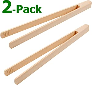 "BICB Premium Beechwood Wooden Tongs, 12"" Long Easy Grip Toaster Tongs, (Set of 2)"