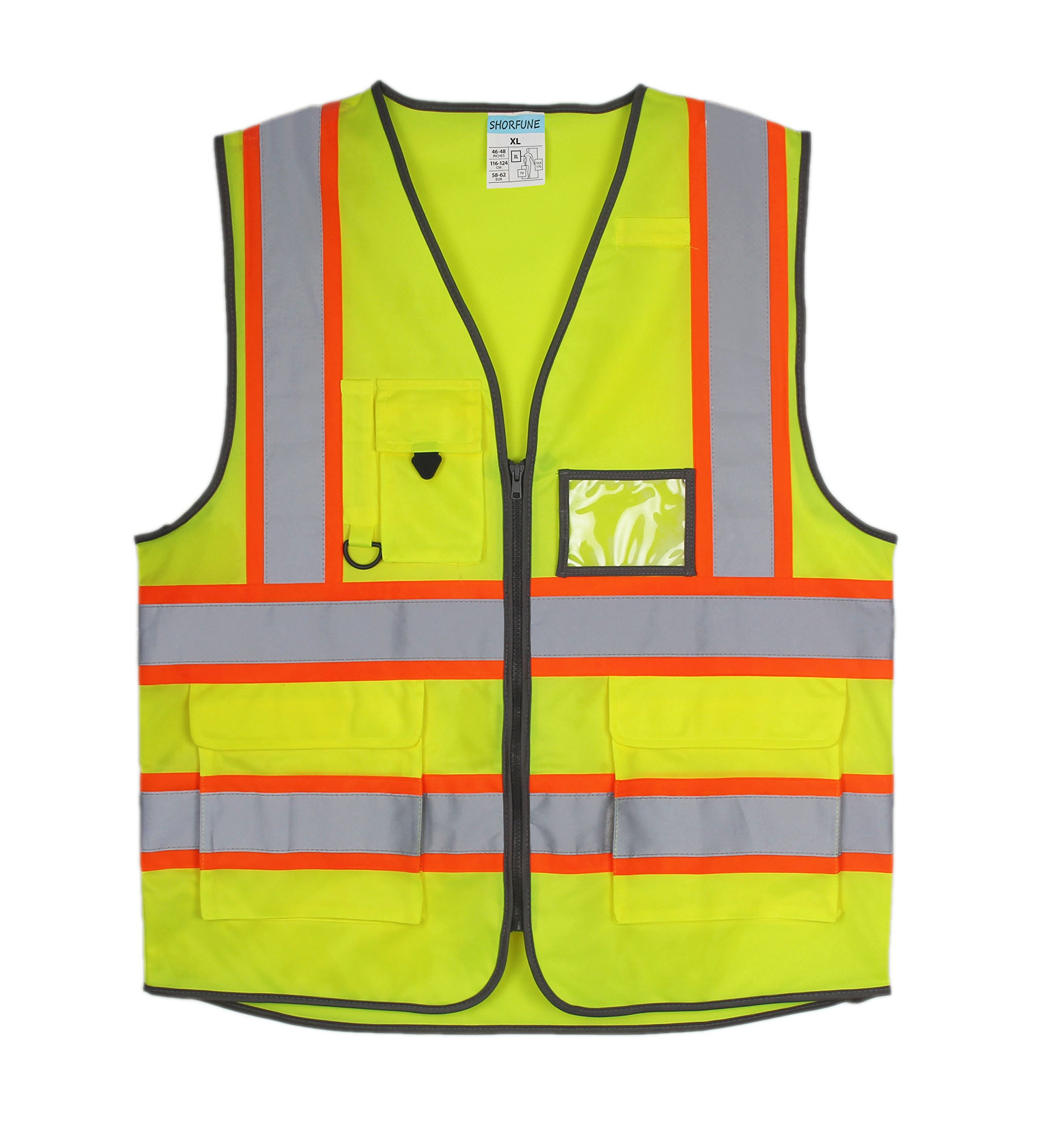 SHORFUNE 1119U High Visibility Reflective Safety Vest with Pockets and Zipper, Double Horizontal Reflective Strips, ANSI/ISEA Standard, Neon Yellow, XL