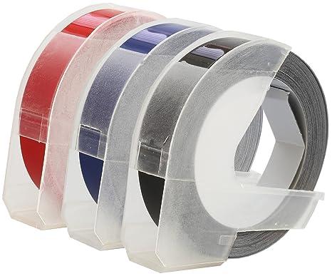 Lot de compatibles rubans dymo s blanc sur noir rouge