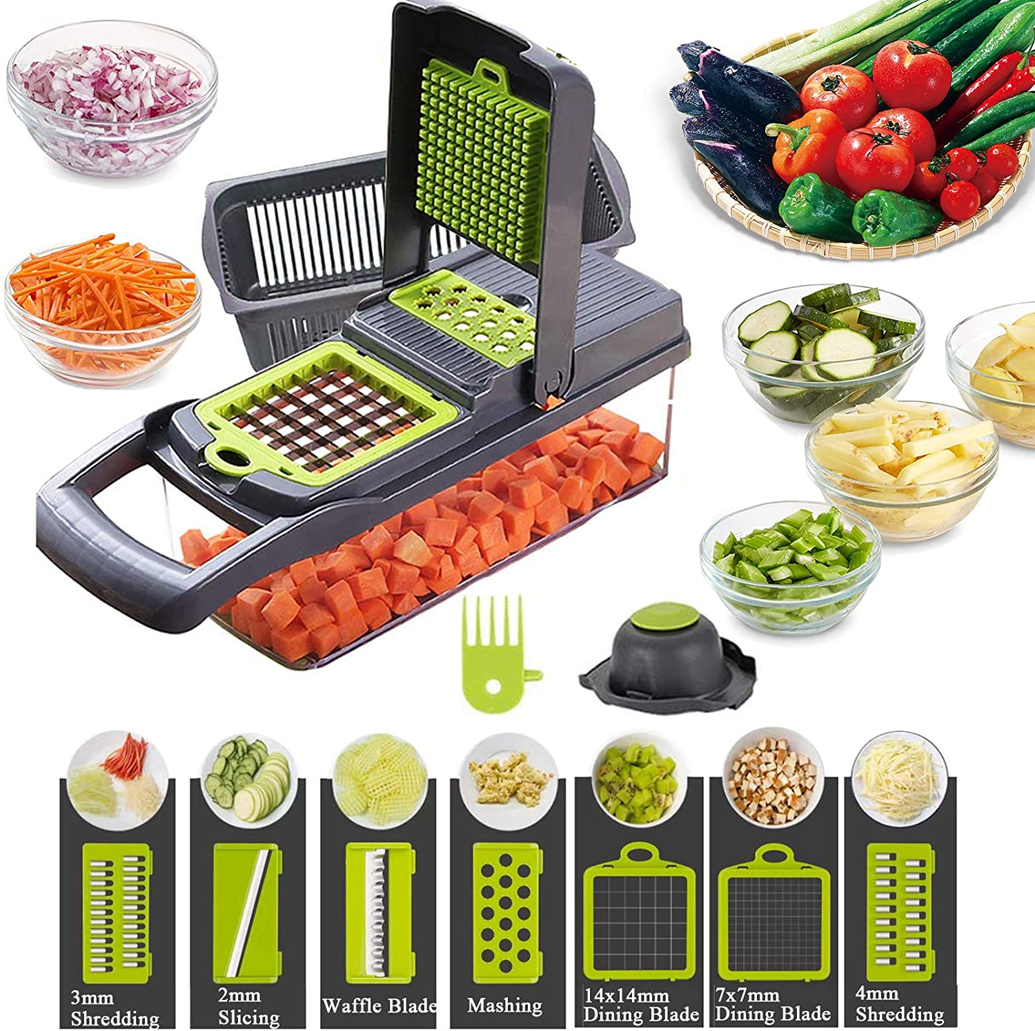 Vegetable Shredder, 12-In-1, The Third Generation Food Shredding (Slicing) Machine for Cutting Vegetables, Cheese, Fruits, Celery, Potatoes, Carrots, Fruit Salads (Gray)