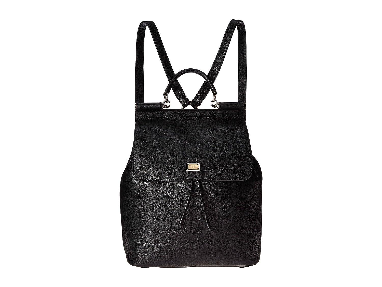 [ドルチェ&ガッバーナ] Dolce & Gabbana レディース Tumbled Calfskin Sicily Backpack バックパック [並行輸入品] B01N6DCW14 ブラック