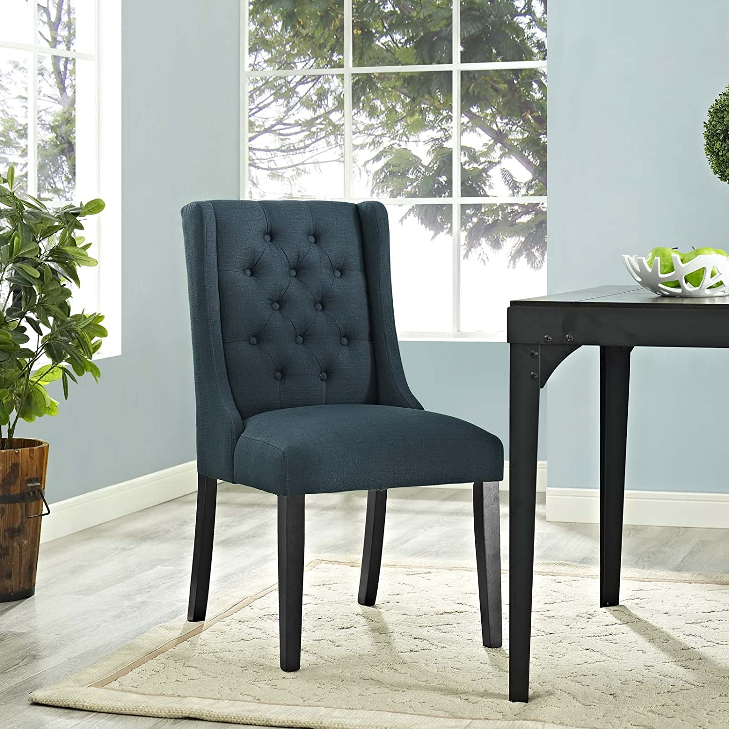 Modway Baronet Modern Tufted Upholstered Fabric Parsons Kitchen and Dining  Room Chair in Azure