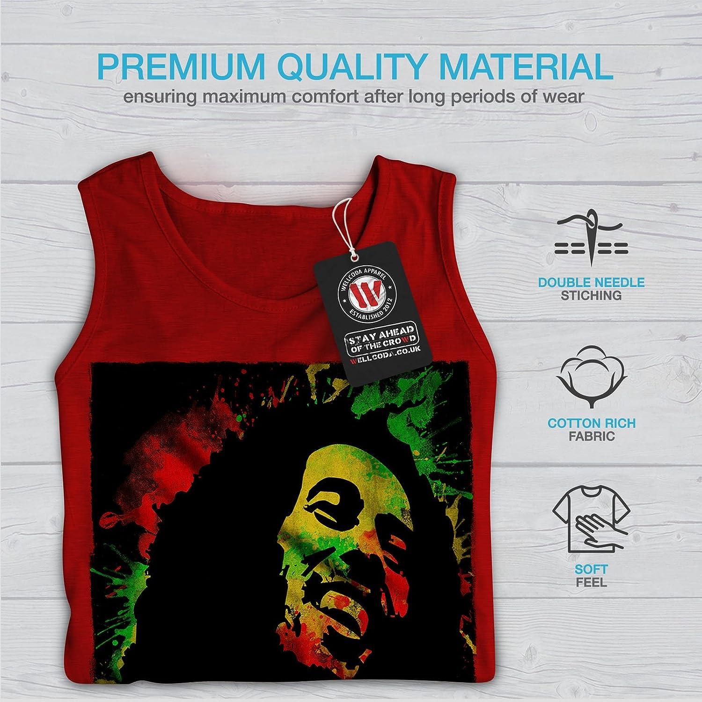 Wellcoda Marley Bob Cannabis Rasta Homme D/ébardeur Reggae/ Chemise de Sport Actif