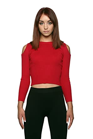 7dd09457e71 Long Sleeve Ribbed Cold Shoulder Crop Top (One Size, Red) at Amazon Women's  Clothing store:
