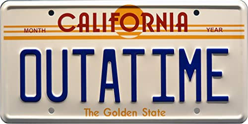 Celebrity Machines Back to The Future Metal Stamped Vanity Prop License Plate