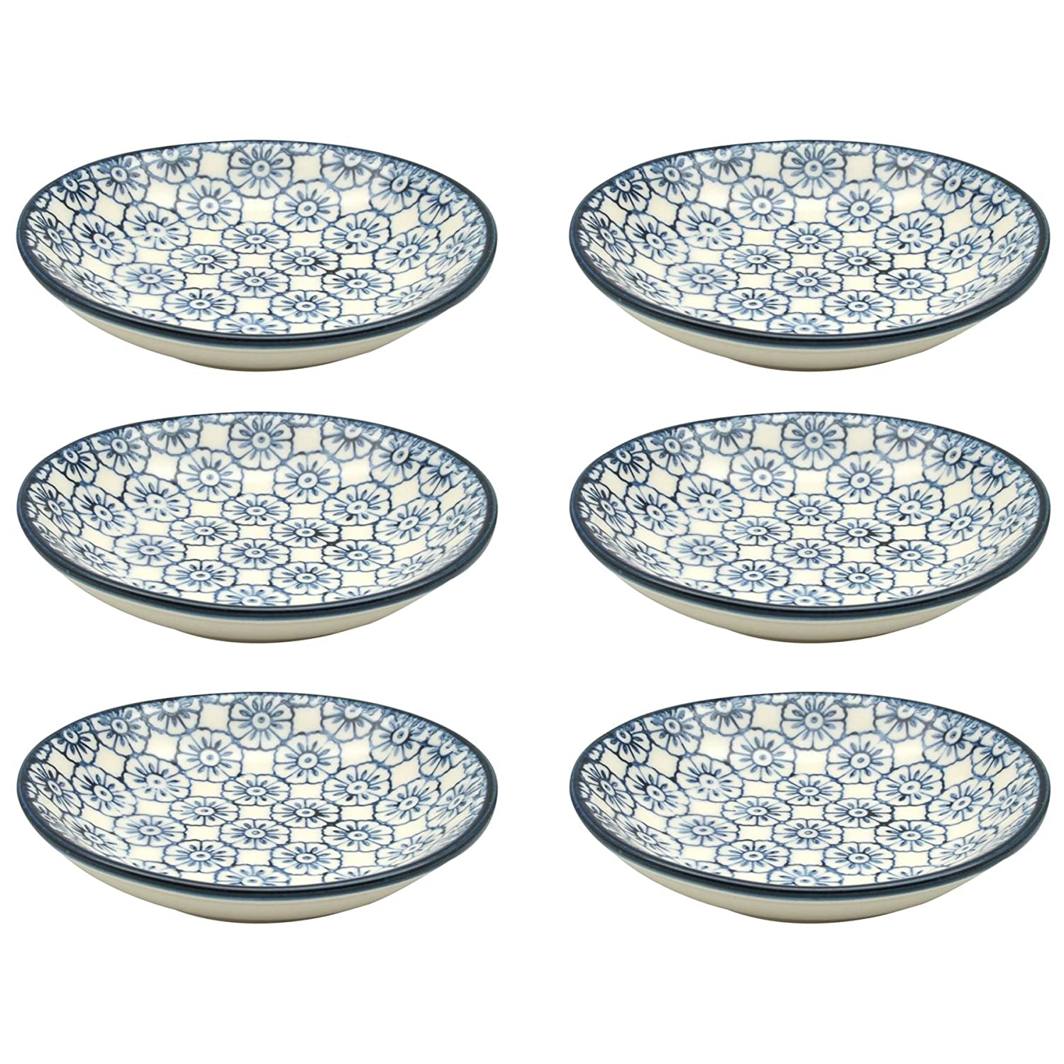 Small Patterned Rice / Soy Sauce / Olive Oil / Dipping Dish - 101mm - Blue Flower - Box of 6 Nicola Spring