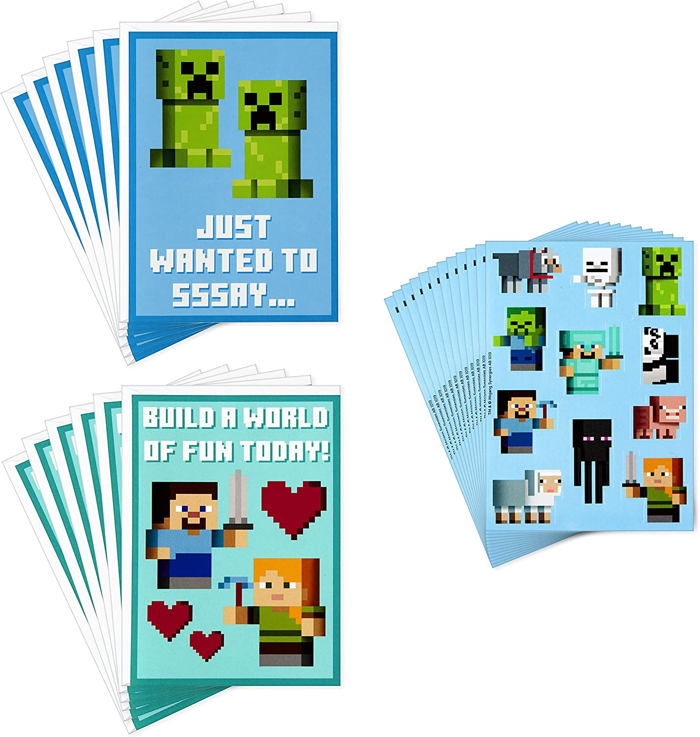 Hallmark Kids Minecraft Valentines Day Cards and Stickers Assortment (11  Cards with Envelopes)
