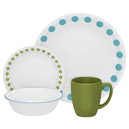 Corelle Livingware South Beach Dinner Set, 16-Pieces, Blue