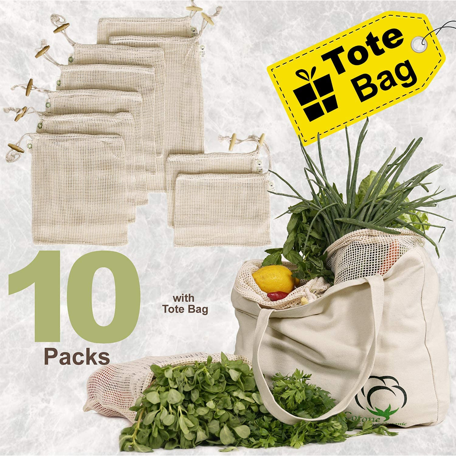 Reusable Produce Bags, Organic Cotton Mesh Bags for Grocery Shopping and Storage, Washable, Biodegradable, Eco Friendly, Food Carrying Sack, Set (2S, 5M, 2L) of 10 with Tote Bag, GOTS Certificiated