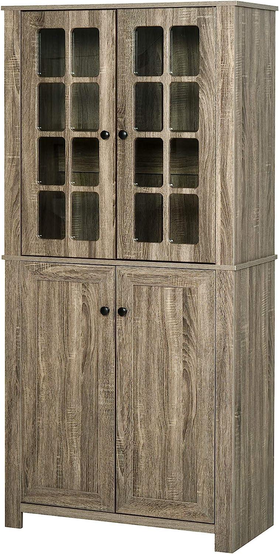 HOMCOM Storage Cabinet with 3 Open Shelves Cupboard Freestanding Tall Organizer Multifunctional Rack for Livingroom Bedroom Kitchen Rustic Brown