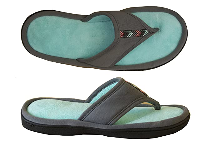 ffb2991267c1 Isotoner Women s Microterry Jersey Luna Thong Slipper Ash 9.5-10 ...